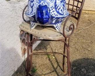 Ceramic Turtle  on Iron and wood Stool