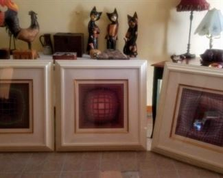 3 Framed Optical Illusion Lithographs signed by Victor Vasarely