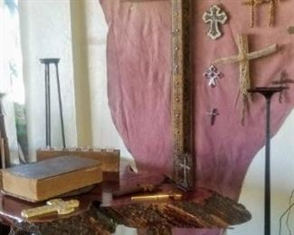 Wood Cross & Wood Slab Table with Bench