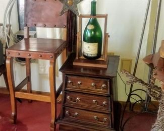 Leather & Wood Bar Stool and Vintage Night Stand