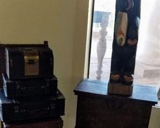 Wood Carved Bear, Wood & Leather Chair, Small Stacking Suit Cases & Rustic Wood Trunk on Metal Base