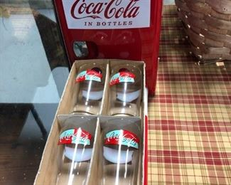 Coca Cola Glasses (4) and Mini Fridge
