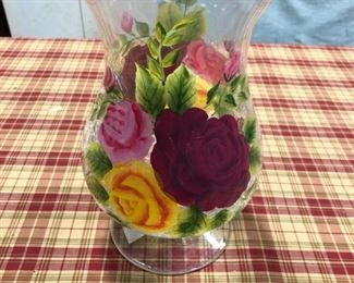 """Roses"" 10"" Hurricane Mouth Blown, Hand Painted, Crackle Glass Vase"