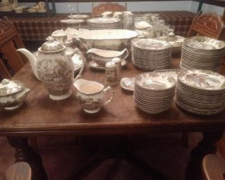 Over 100 pieces of Johnson Brothers Friendly Village! English made, great variety! From glasses to tureen, all the pieces for a great set, or complete your own!
