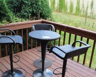 patio set small bistro table with 3 high stools