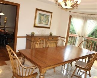 dining room set Ethan Allen 6 chairs with leafs