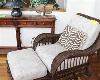 Ethan Allen rattan wicker lounge chair with ottoman an additional cushions