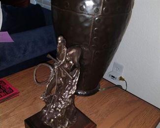 Pottery Lamp and Remington Bronze