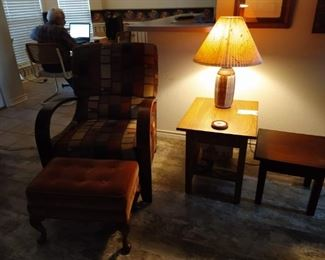 Recliner and Amish end tables
