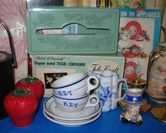 Tole Craft paint by number tissue box still in the box! Vintage kitchen wall appliques. Thick restaurant ware cups and saucers from 1930s sorority house. Uncle Sam mini jug, Pickard gold candle holders, Nippon camel vase