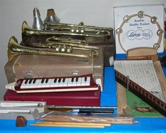 School trumpets, Ludwig tamborine mint in box, old Zither, drumsticks, tuning forks.