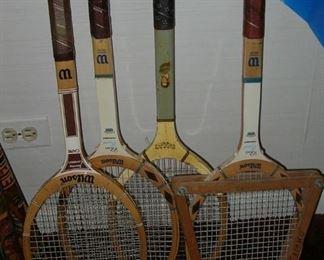 Wilson Jimmy Connor, Chris Evert & Bobby Riggs wood tennis rackets