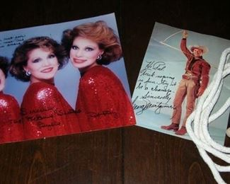 Signed McGuire Sisters and George Montgomery pictures (his with trick rope)