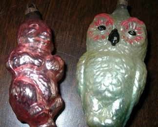 Nice blown glass ornaments -- bear, owl.