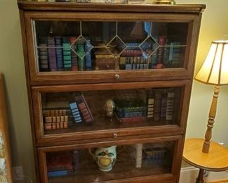 Modern oak stack book case, leaded glass top