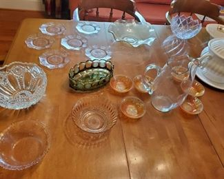Vintage glassware and Depression glass
