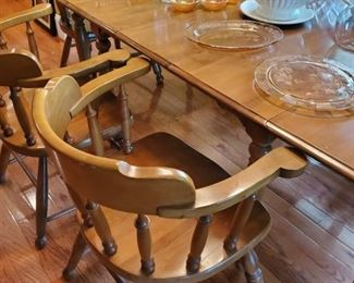 Hard rock Maplewood table and six chairs,  exceptional