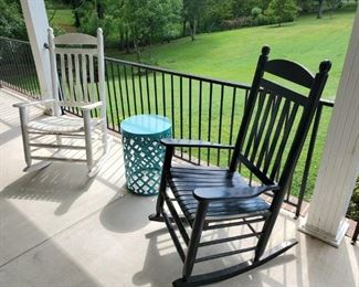 Nice solid wood porch rockers