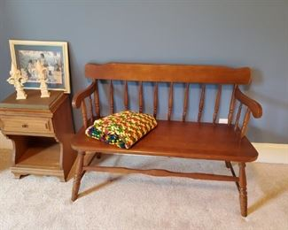 Solid maple courting bench
