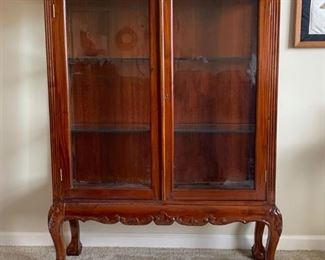 Antique Solid Cherry Wall Display Cabinet