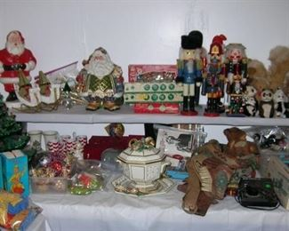 Christmas! Ceramic tree, blowmold Santa, vintage ornaments and decorations, nutcrackers, etc.