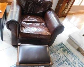 Restoration hardware Leather Arm Chair and ottoman