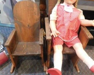 1964 doll with vintage wooden rockers