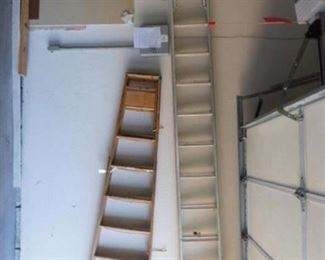 Extension ladder and wooden step ladder