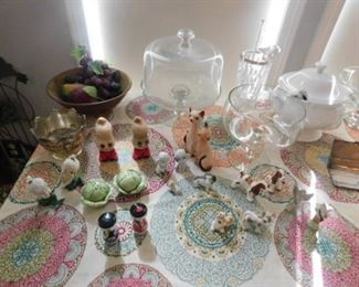 Glass Cake stands, and miniature figurines