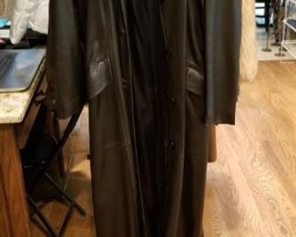 Full-Length Leather Trench Coat, ( Made in England)