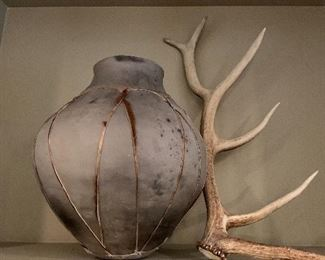 southwestern pottery and elk antlers!