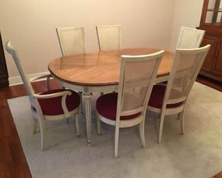 Oval Wood Dining Table with Six Chairs