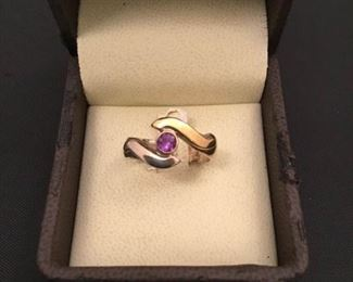 18K, Sterling and Amethyst Womens Ring
