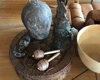 Bronze African Sculptures Fiberglass Kimball Vintage Planter Lane Coffee Table