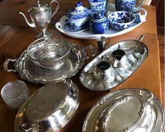 Blue and White and Silverplate