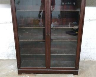 Display Bookcase with Glass Doors, Lock, and Key