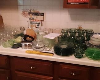 LOTS OF GLASSWARE, GREEN, CRYSTAL