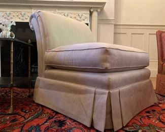 Rolled Back Armless Chairs with Skirt, PAIR
