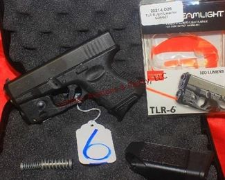 GLOCK 26 9MM AUTO UPGRADED SPRING/ROD, 2-MAGS, LASER/LIGHT, CASE