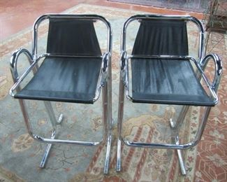 Pair of Mid Century Modern Chrome Bar Stools