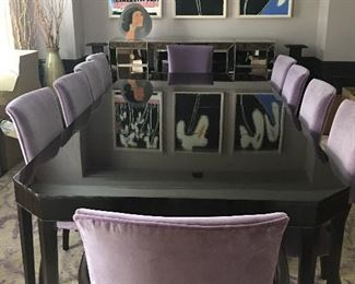 Dining Table, High Polished Finish, currently with 2 Leaves extending it but it can be made smaller!  10 Custom Covered Velvet Dining Chairs!