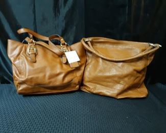 2 brown leather purses