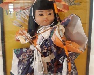 Japanese samurai warrior doll in glass case