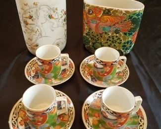 Two Rosenthal vases and four Andrea by Sadek tea cups