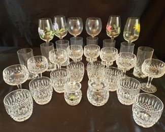 Waterford and other crystal glasses and glassware