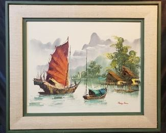 Vintage Wood Framed Asian Oil Painting by Henry Anin