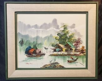 Wood Framed Asian Fishermans Village Oil Painting by Henry Anin