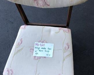 Antique Wooden Chair w Floral Design