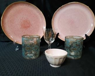 Assortment of Anthropologie dishes and glassware