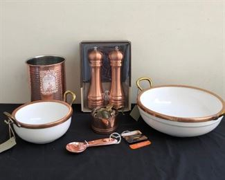 Brand New Copperrimmed Object d Arts Bowls  Various Copper Kitchen Appliances